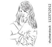 teenage japanese style girl... | Shutterstock . vector #1123712012