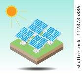 blue solar panels flat... | Shutterstock .eps vector #1123735886