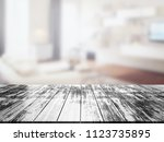 closeup top wood table with... | Shutterstock . vector #1123735895