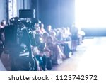 television camera broadcasting... | Shutterstock . vector #1123742972