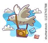 post bird deliver mails | Shutterstock .eps vector #1123743788