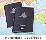 australian passport with the...   Shutterstock . vector #112375586