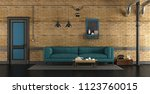 living room in a loft with blue ... | Shutterstock . vector #1123760015