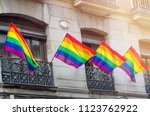 rainbow flags waving on... | Shutterstock . vector #1123762922