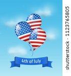 balloons colored as flag usa... | Shutterstock .eps vector #1123765805