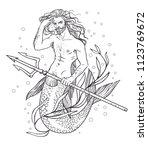 handsome merman. hand drawn... | Shutterstock .eps vector #1123769672