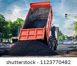 heavy duty dump truck  with...   Shutterstock . vector #1123770482
