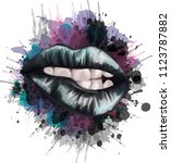 gothic lips   stylized vector... | Shutterstock .eps vector #1123787882