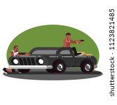 two mans skirmish on car | Shutterstock .eps vector #1123821485
