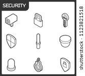 security outline isometric icons | Shutterstock .eps vector #1123821518