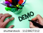 text sign showing demo.... | Shutterstock . vector #1123827212