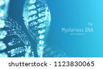 vector abstract blue dna double ... | Shutterstock .eps vector #1123830065
