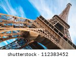 famous eiffel tower in paris ... | Shutterstock . vector #112383452