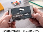 security camera concept on... | Shutterstock . vector #1123852292