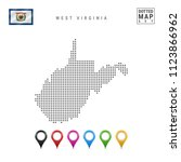 dots pattern vector map of west ... | Shutterstock .eps vector #1123866962