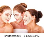 group women with  facial mask... | Shutterstock . vector #112388342