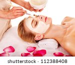 woman with clay facial mask...   Shutterstock . vector #112388408