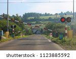 road signs at the railway...   Shutterstock . vector #1123885592