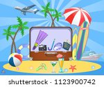 summer travel suitcase and... | Shutterstock .eps vector #1123900742