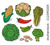 a large set of fresh vegetables.... | Shutterstock .eps vector #112390205