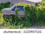 car wreck and evening light | Shutterstock . vector #1123907132
