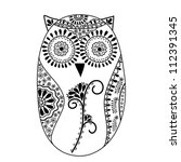 abstract floral owl  vector... | Shutterstock .eps vector #112391345