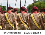 boy scouts are walking in the... | Shutterstock . vector #1123918355