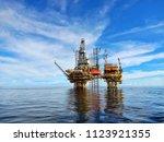offshore oil platform for... | Shutterstock . vector #1123921355