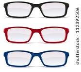 collection of eyeglasses  black ... | Shutterstock .eps vector #112392506