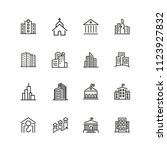 building icons. set of  line... | Shutterstock .eps vector #1123927832