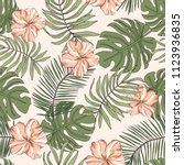 tropical pink hibiscus flowers  ... | Shutterstock .eps vector #1123936835