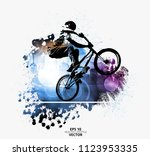 young male bicycle jumper.... | Shutterstock .eps vector #1123953335