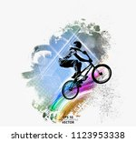 young male bicycle jumper.... | Shutterstock .eps vector #1123953338