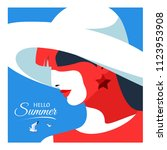 hello summer. abstract woman in ... | Shutterstock .eps vector #1123953908