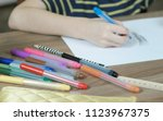 close up of the child's hands... | Shutterstock . vector #1123967375