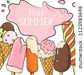 hot summer. tasty colorful ice... | Shutterstock .eps vector #1123983698