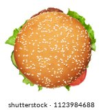 tasty burger isolated on white... | Shutterstock . vector #1123984688