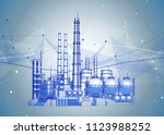 modern chemical manufacturing... | Shutterstock .eps vector #1123988252