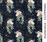 seamless watercolor olea floral ... | Shutterstock . vector #1123990682