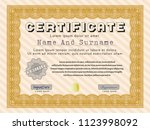 orange awesome certificate... | Shutterstock .eps vector #1123998092