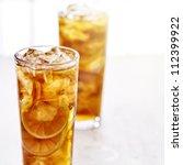 Cold Iced Tea With Sliced...