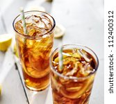 Two Cold Iced Tea With Straws...