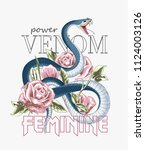 typography slogan with roses... | Shutterstock .eps vector #1124003126