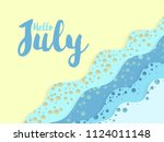 hello july summer card with... | Shutterstock .eps vector #1124011148