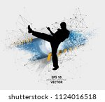 young male karate warrior.... | Shutterstock .eps vector #1124016518