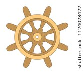 wheel wooden cartoon. outlined... | Shutterstock .eps vector #1124028422