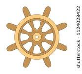 wheel wooden cartoon. outlined... | Shutterstock .eps vector #1124028422