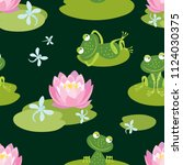 pattern of funny frogs on a... | Shutterstock .eps vector #1124030375