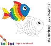 rainbow fish. educational game... | Shutterstock .eps vector #1124032448