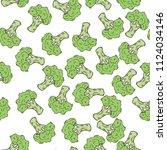 seamless broccoli pattern   Shutterstock .eps vector #1124034146